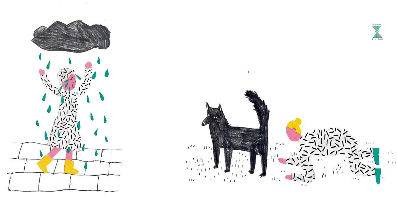 #265  als het regent moet je heel hard huilen (ook als je binnen bent) – OF – als je een hond ziet moet je die een kwartier op je knieën achtervolgen