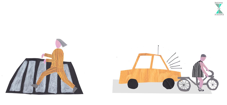 #250 bij elk zebrapad moet je galopperend als een zebra oversteken – OF – bij groen licht mag je pas vertrekken als er achter je wordt getoeterd/gebeld