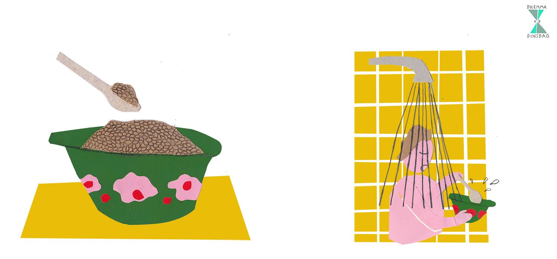 #264 je eet elke dag een bak droge havermout als ontbijt – OF – je ontbijt altijd onder de stromende douche