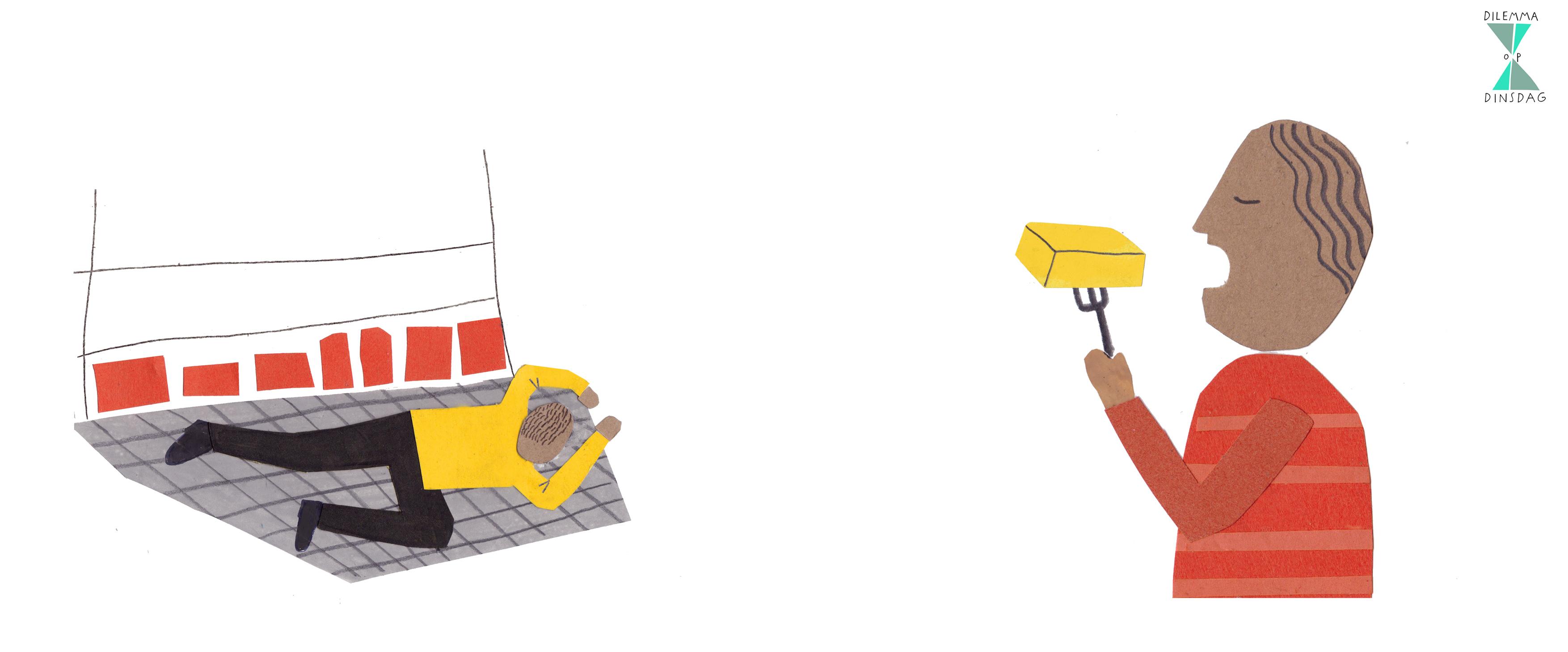 #324 je mag alleen spullen van de onderste plank in de winkel kopen -OF- je moet een pakje boter in één keer opeten