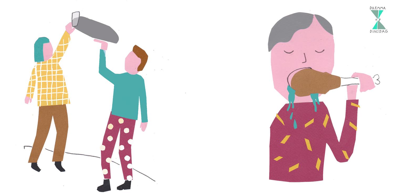 wanneer je loopt, draag je een dienblad – OF – je moet op al je eten sabbelen (niet kauwen)