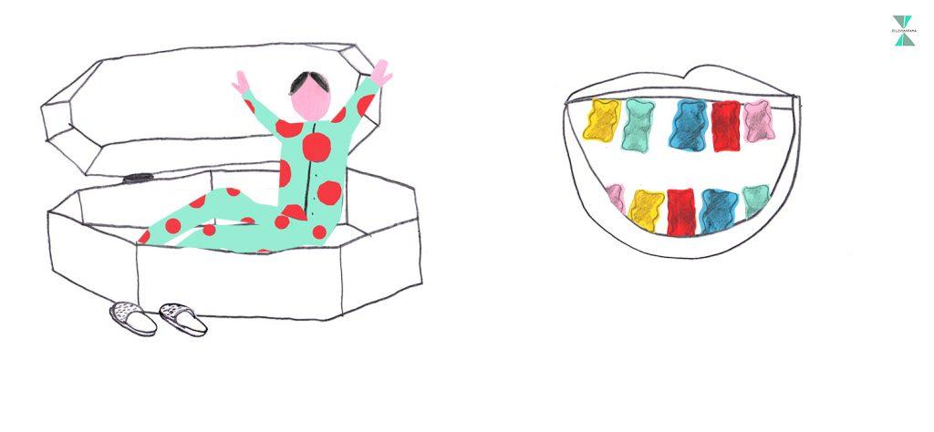#229 Je moet altijd slapen in een sarcofaag – OF – je tanden zijn gummibeertjes