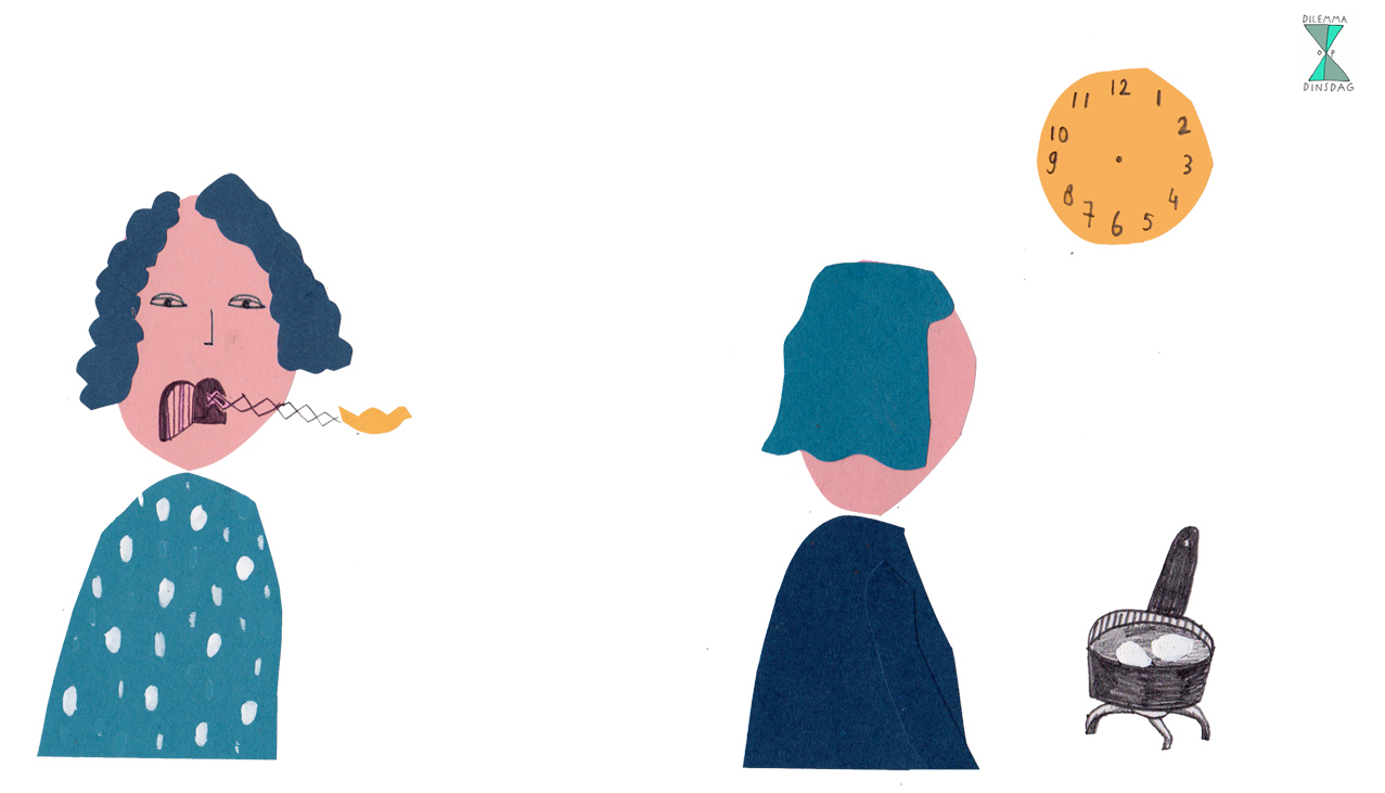 je maakt elk uur het geluid van een koekoeksklok – OF – je kunt geen klok meer lezen