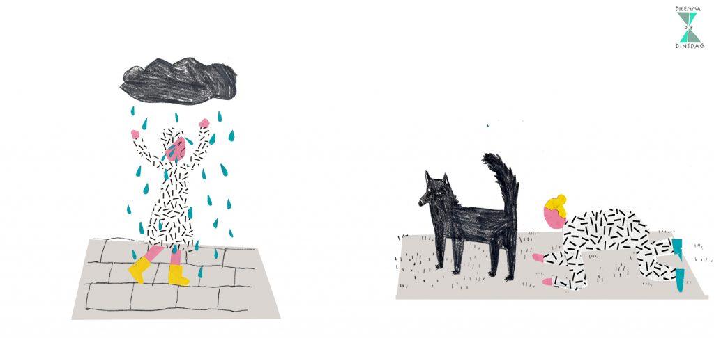 #407 als het regent moet je heel hard huilen (ook als je binnen bent) – OF – als je een hond ziet moet je die een kwartier lang op je knieën achtervolgen