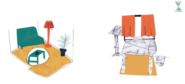 #390 één keer per week wordt je hele vloer ingesmeerd met een laagje smeuïge pindakaas -OF- al je meubels en spullen worden één keer per week ingepakt in witte stof